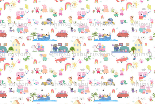 May/June 2020 Preorder - Fabric Peppa Pig Remixed White