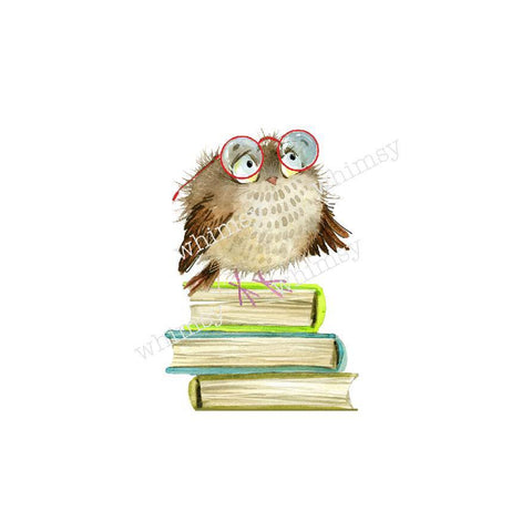 329 Book Owl w/ Glasses Child Panel