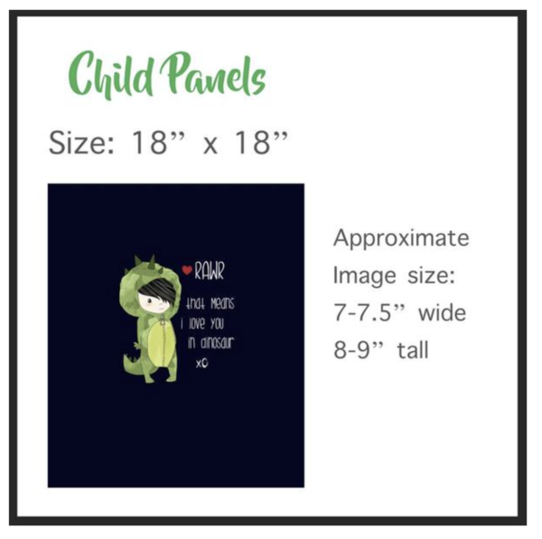 549 RAWR Means I Love You Child Panel (Applique Green Dragon Version)