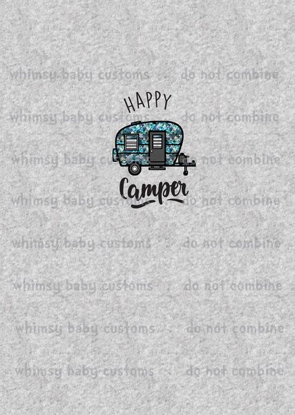 A1073H Adult/Romper Panel Happy Camper on Heather
