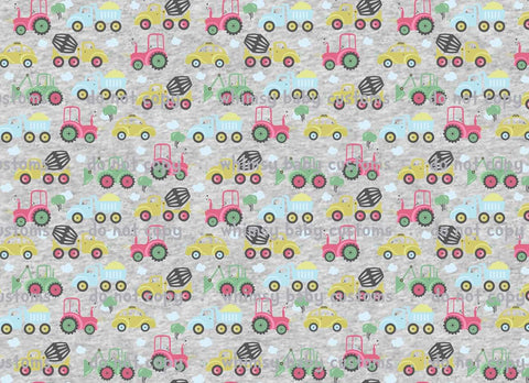 Farm Vehicles Fabric - On Heather Grey