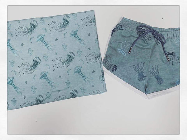 Fabric Tone on Tone Jelly Fish on a FAUX Seafaom Heather look ON VARIOUS BASES