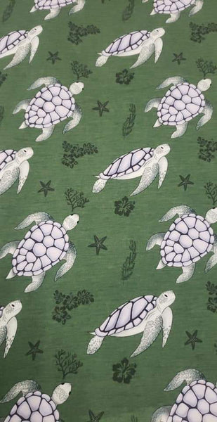 Fabric Tone on Tone Sea Turtles on a FAUX Green Heather look ON VARIOUS BASES