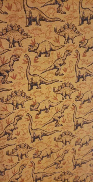 International - Fabric Tone on Tone Dinosaurs on a FAUX Light Brown Heather look ON VARIOUS BASES