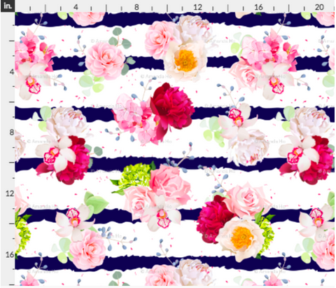 Floral and Stripes Fabric