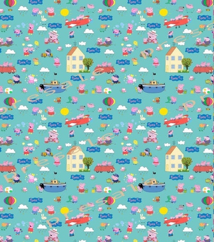 Peppa Pig Turquoise  main Fabric