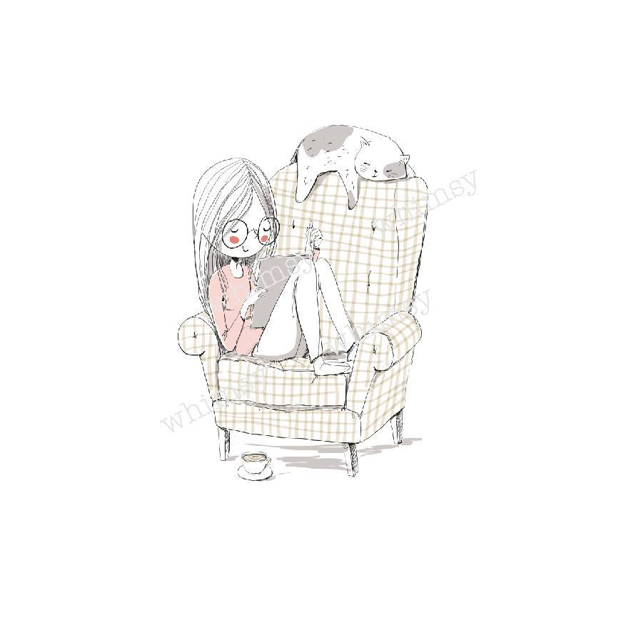N724 Girl Reading Book In Chair Child Panel (on White)