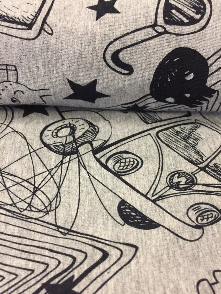 Hipster Elements Fabric on HEATHER GREY