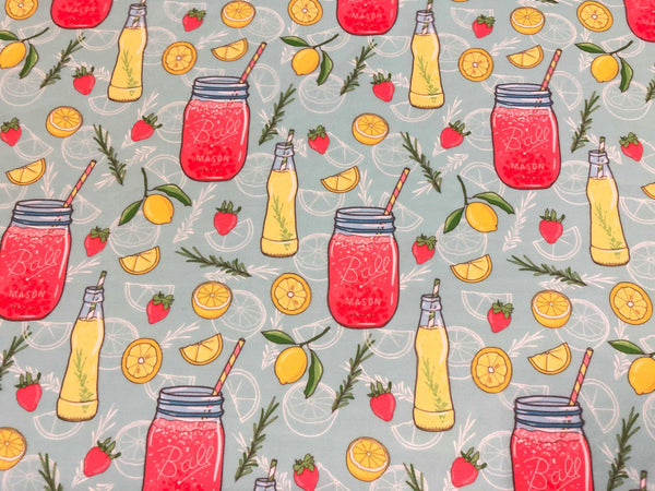 Pink Lemonade Mason Jars Swim Fabric RETAIL IN STOCK