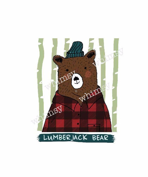 470 Lumberjack Bear Red Child Panel