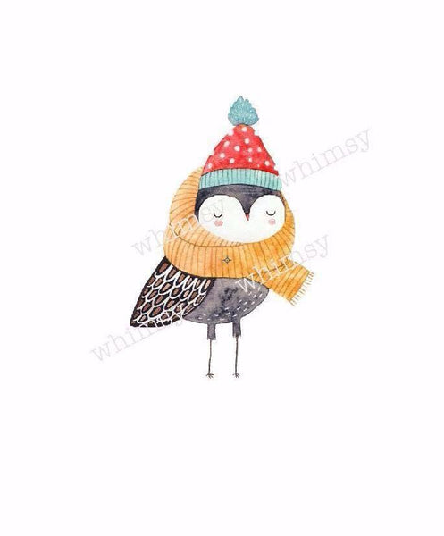 530 Owl With Scarf and Beanie Child Panel