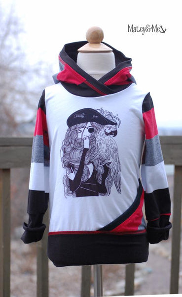 539BH Pirate Girl Child Panel (on HEATHER GREY)