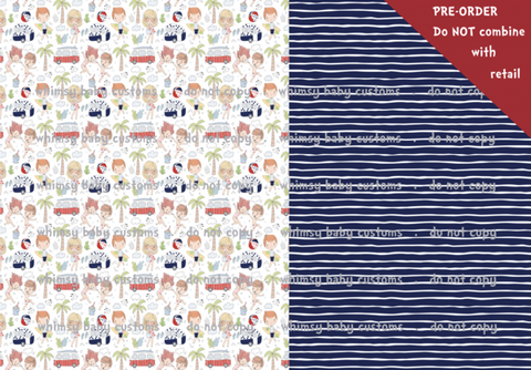 Perfect Day at the Beach BOY Half and Half Swim Fabric RETAIL IN STOCK