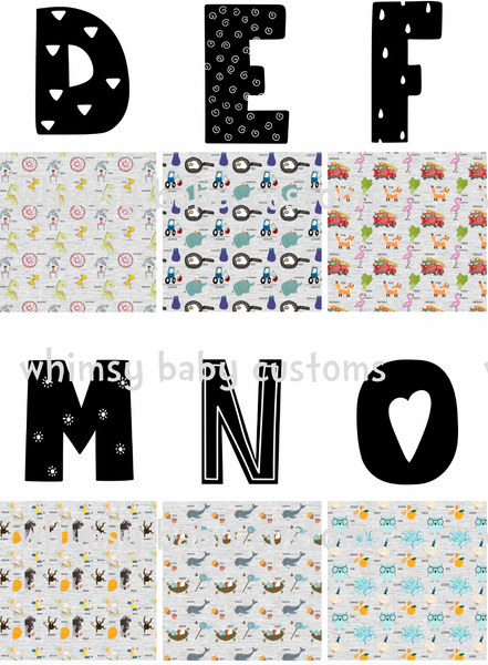 International - Fabric Now I Know My ABC...Alphabet stuffies on COTTON LYCRA