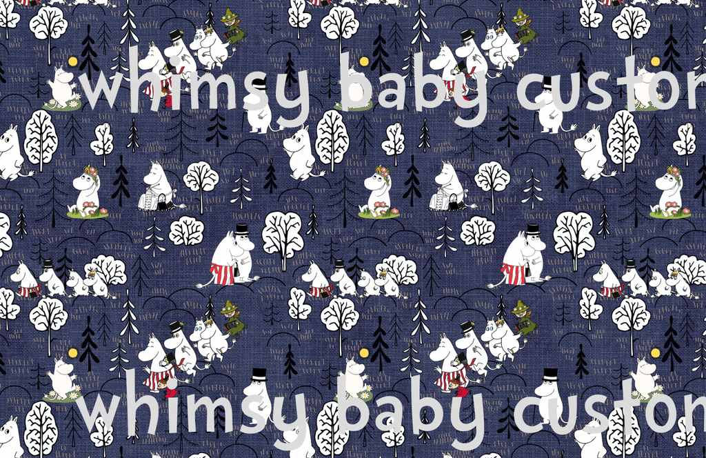 July/Aug 2020 Preorder - Fabric Moomin Valley on Navy Linen Look ON VARIOUS BASES