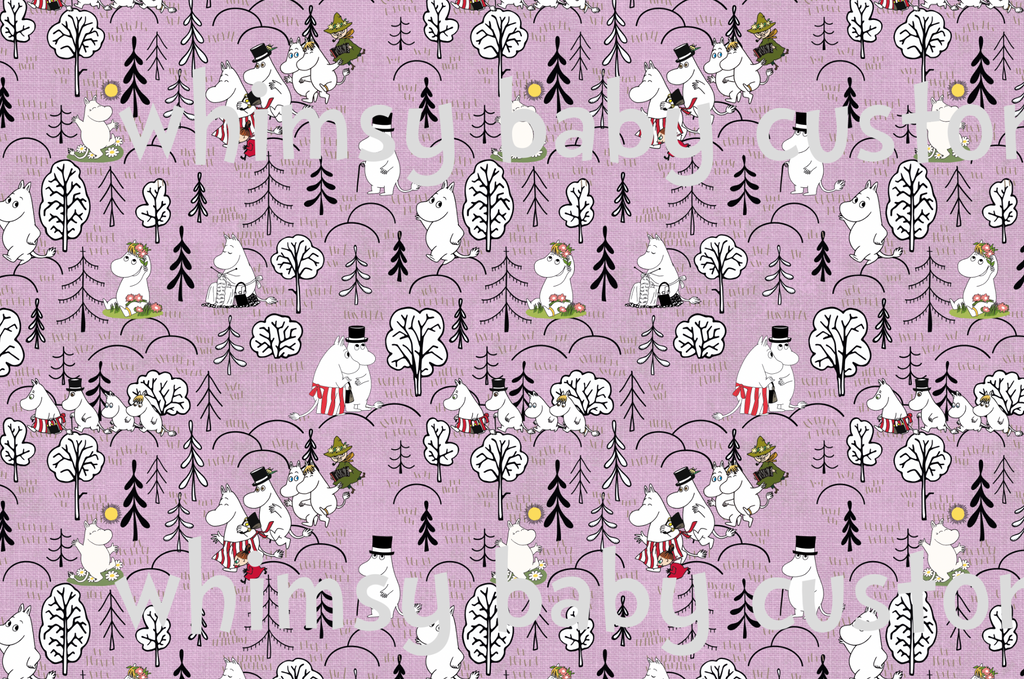 Fabric Moomin Valley on Pink Linen Look ON VARIOUS BASES