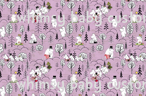 July/Aug 2020 Preorder - Fabric Moomin Valley on Pink Linen Look ON VARIOUS BASES