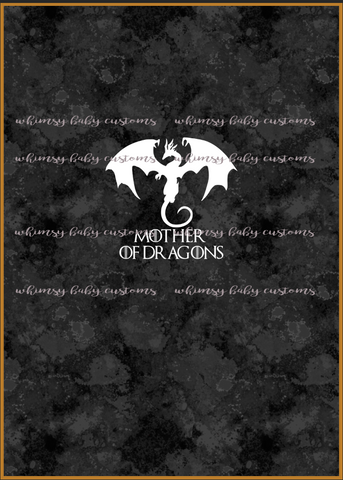Adult/Romper Panel Game of Thrones Mother of Dragons on black