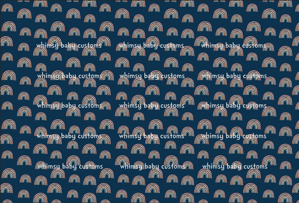 International - Fabric Earthtoned Rainbow Collection Rainbows on Navy ON CL
