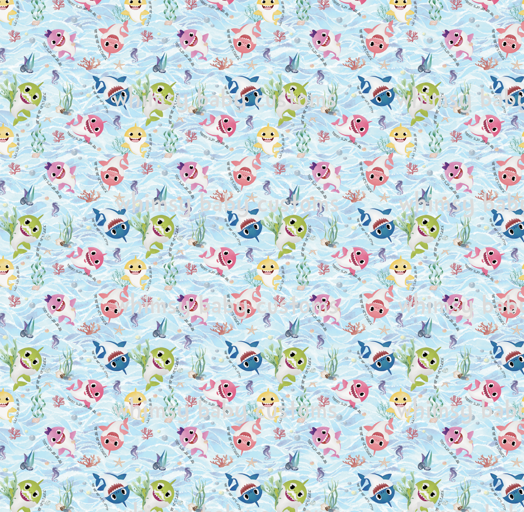 International - Fabric Baby Shark Doo Doo Doo Watercolour Main on COTTON LYCRA