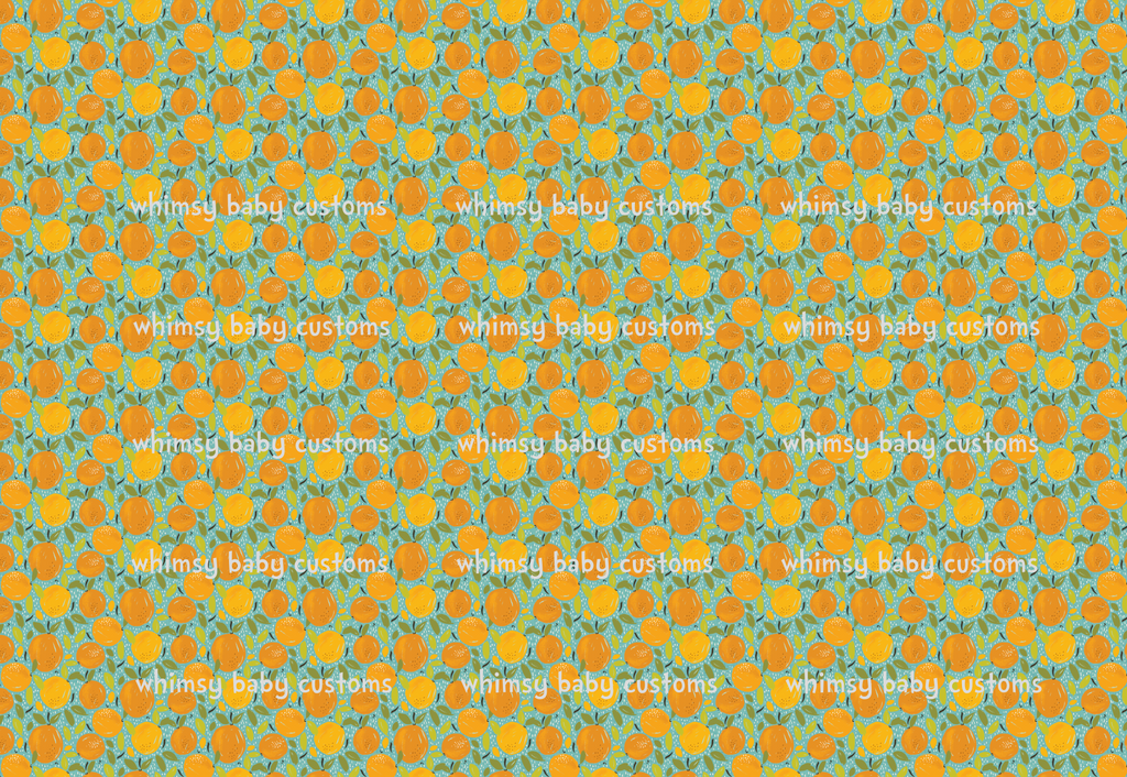 Fabric Oranges on Grunge Green