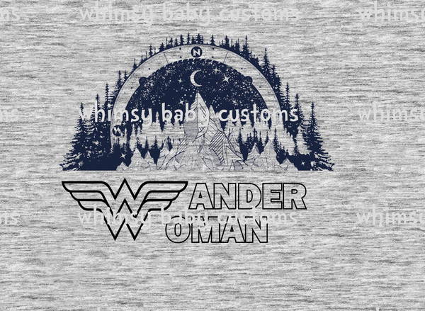 A1057 Adult/Romper Panel Wander Woman Mountains on Heather Grey