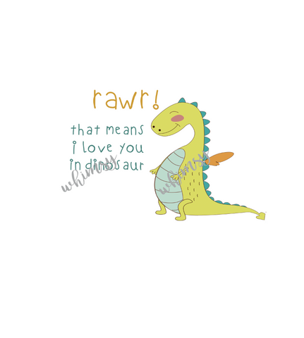 549 RAWR Means I Love You Panel (Applique Dino Version)