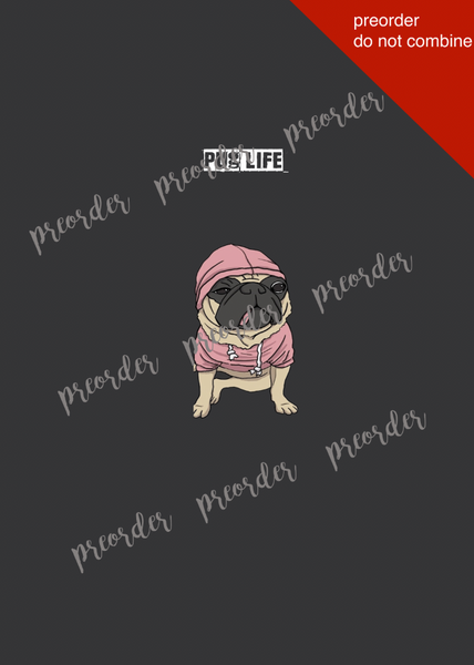 International Adult/Romper Panel Pug Life Pink