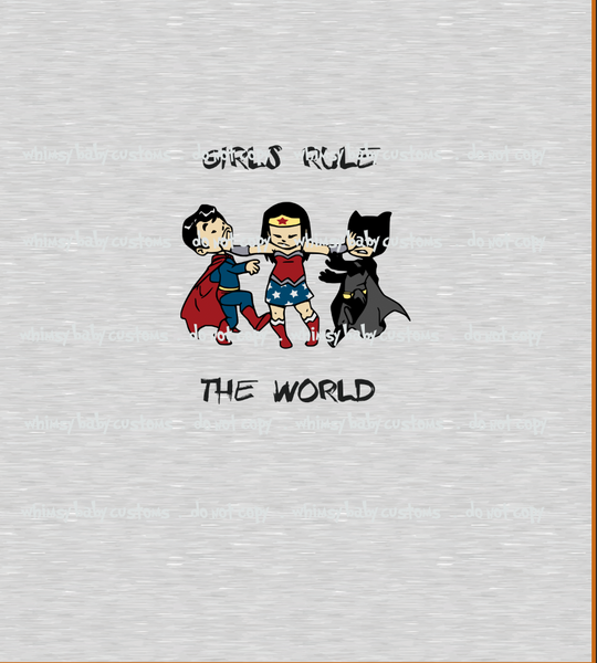 739H Girls Rule the World Child Panel (on Heather Grey)