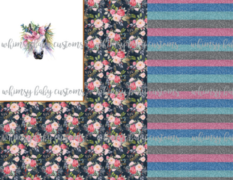 Fluff 2020 Preorder- Rapport R059 Watercolour Floral Horse with Glitter Stripes