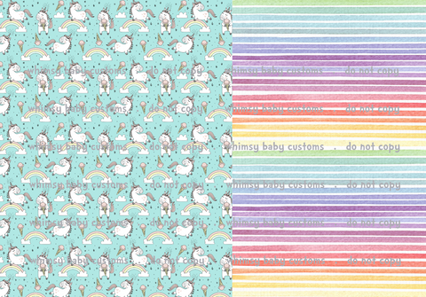 Unicorn Ice Cream Half and Half Swim Fabric
