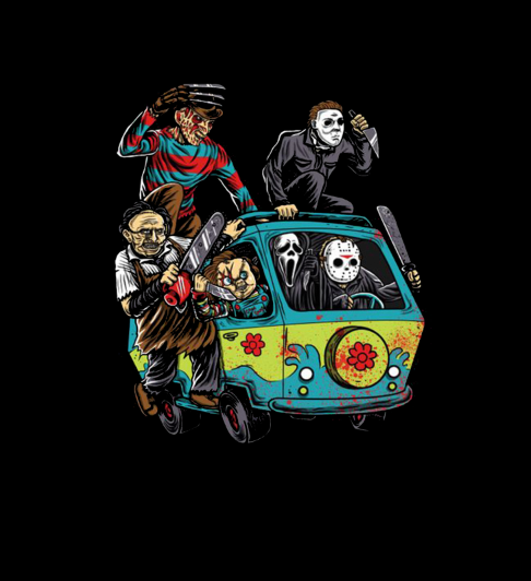 Adult / Romper Panel Horror Movie Kids in Scooby Doo Van