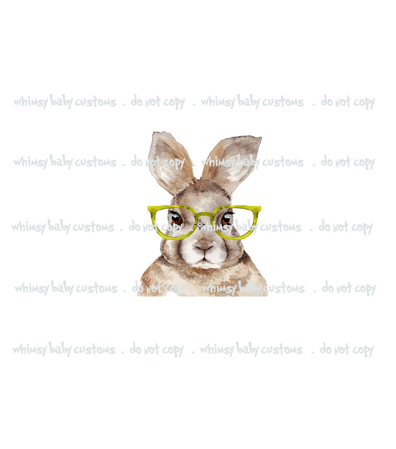 660 Watercolour Hipster Bunny with Glasses Child Panel