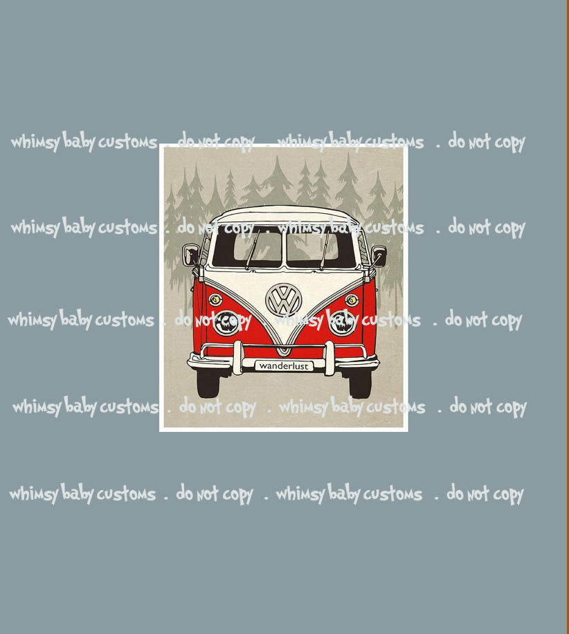 615 Wanderlust VW Van Red Child Panel