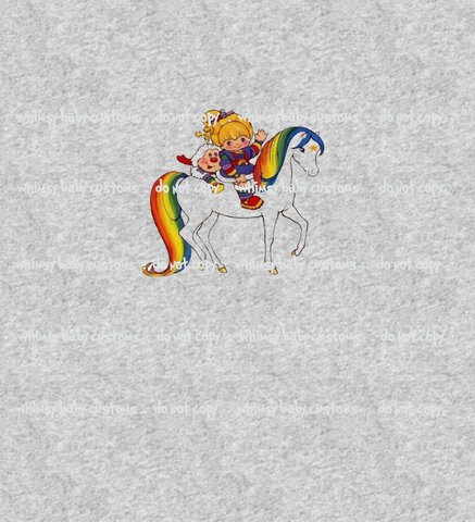 543H Rainbow Brite on Horse Child Panel (on HEATHER GREY)