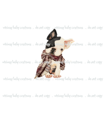 437W Hipster French Bulldog with Scarf Child Panel (on WHITE)