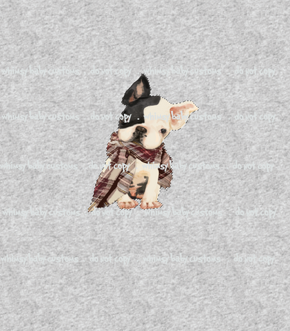 437H Hipster French Bulldog with Scarf Child Panel (on HEATHER GREY)