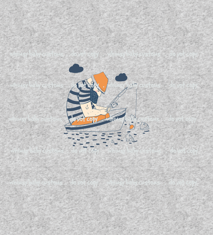 N684H  Sleepy Fisherman Child Panel (on Heather Grey)