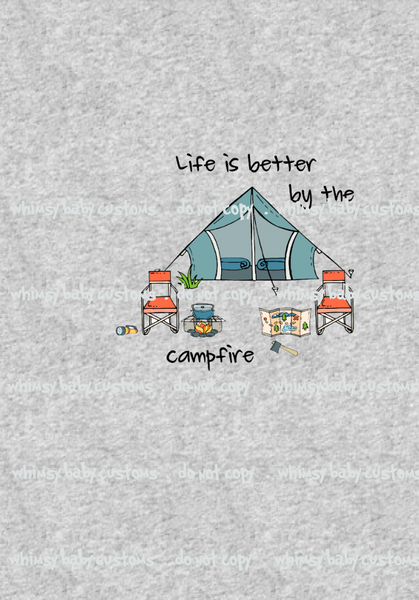 March Preorder - Child Panel Life is Better by the Campfire on Heather Grey