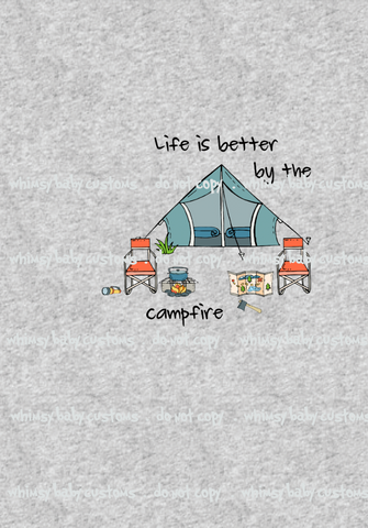 311H Life is Better by the Campfire Child Panel on Heather Grey
