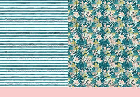 Swim Fabric Tropical Palms and Hibiscus and Stripes Half and Half