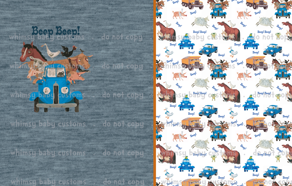 Fluff 2020 Preorder- Lazy Quilt/Blanket Topper Little Blue Truck