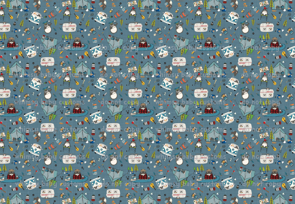 Whimsy Fluff Fabric Totoro Loves Camping