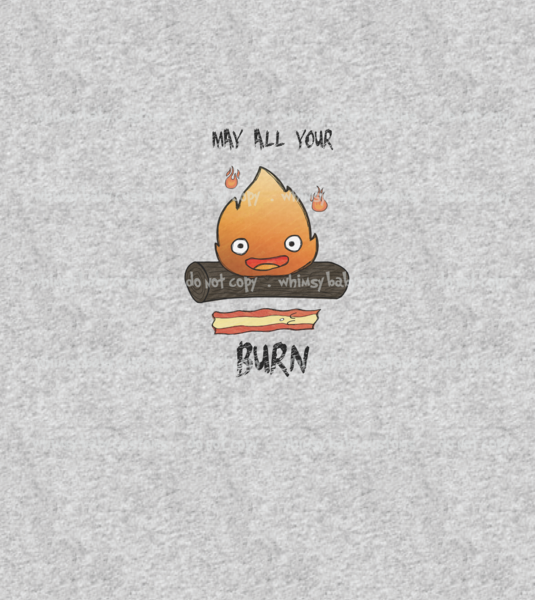 A1113 Adult/Romper Panel May All your bacon Burn Calcifer ON HEATHER GREY