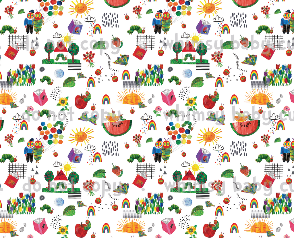 International - Fabric Hungry Caterpillar Doodle WHITE CL