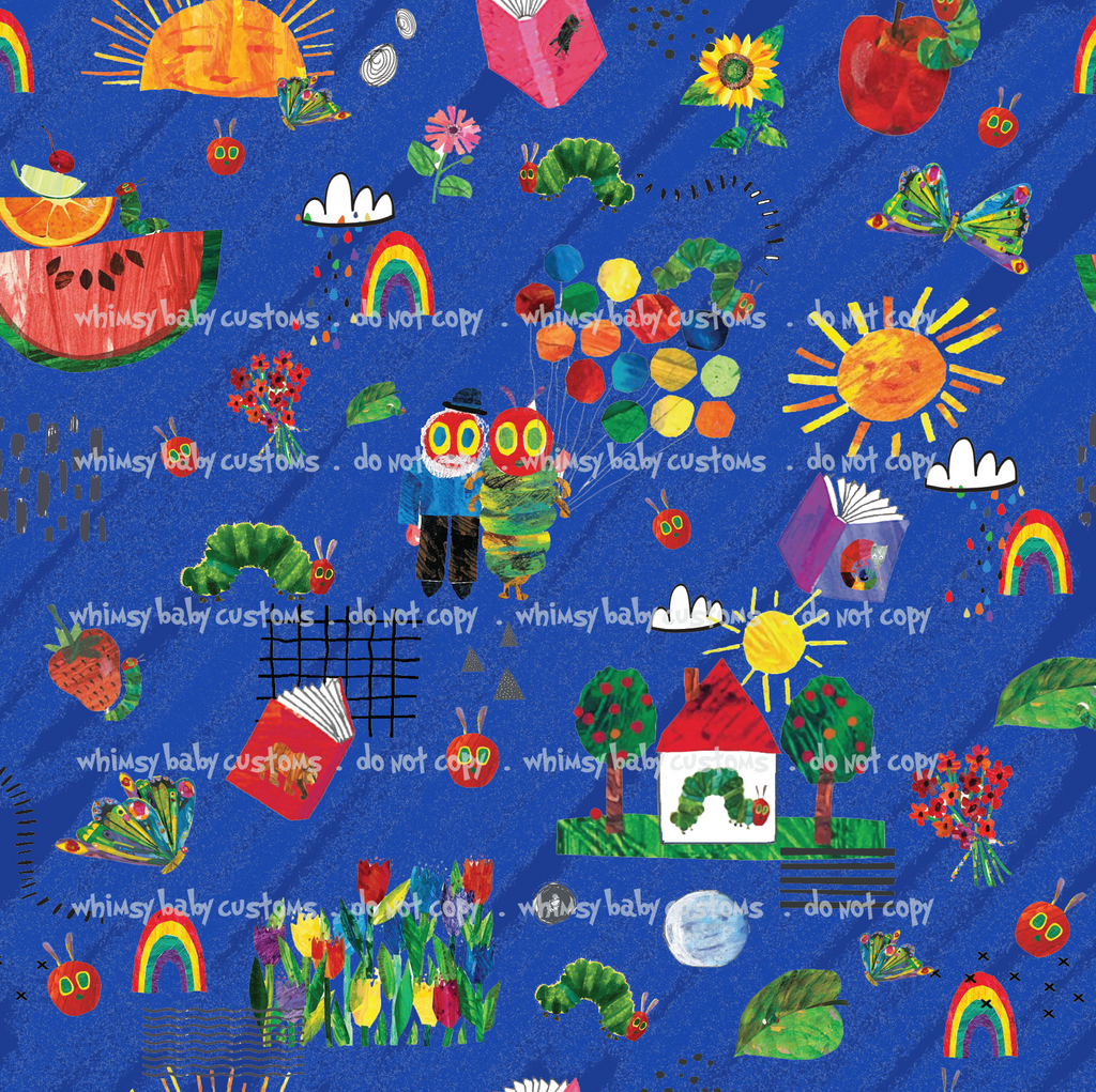 International - Fabric Hungry Caterpillar Doodle BLUE ON CL