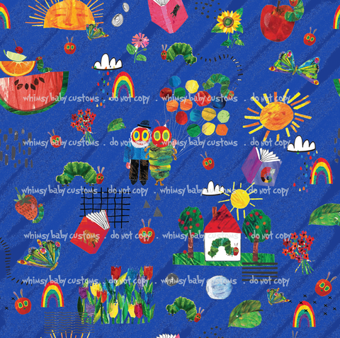 July/Aug 2020 Preorder - Fabric Hungry Caterpillar Doodle BLUE ON VARIOUS BASES