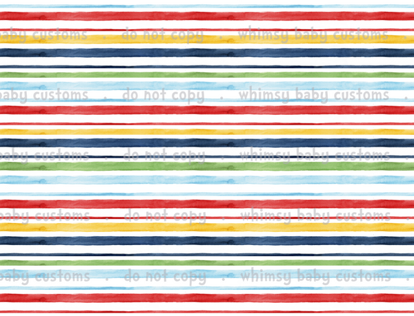 International - Fabric Gender Neutral Watercolour Stripes ON CL
