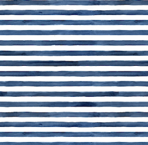 Blue Watercolour Stripes Fabric (Navy)