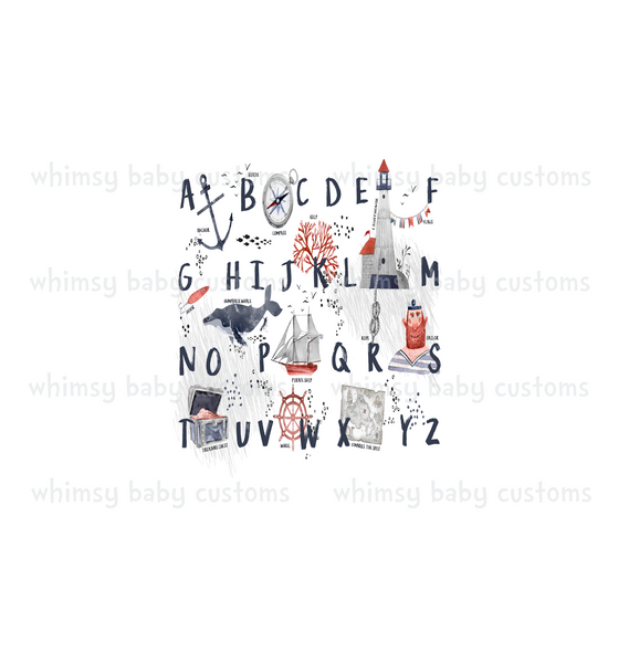 Sept/Oct Preorder - Child Panel Alphabet Nautical